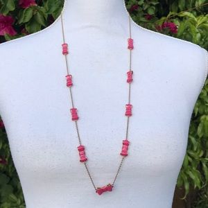 Kate spade pink take a bow necklace